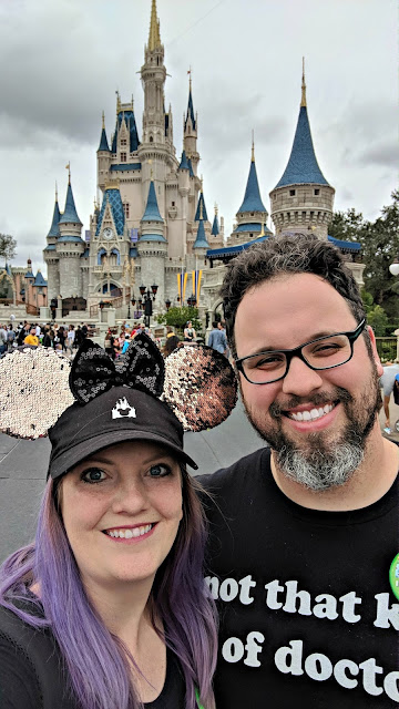Celebrating my Birthday at the Magic Kingdom - Couple selfie in front of Cinerella's Castle