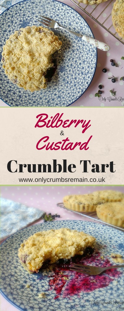 This Bilberry & Custard Crumble Tart combines two popular desserts.