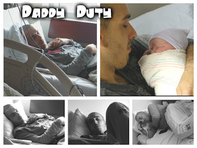 Detail photographs of a father during labor and delivery