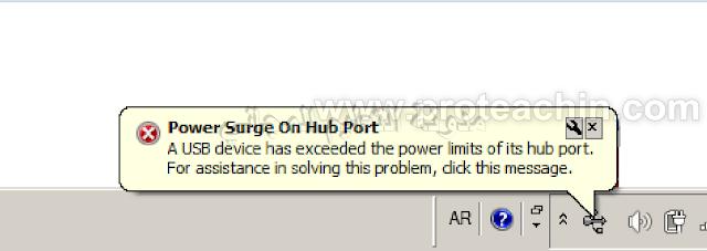 حل مشكلة Power Surge On Hub Port في الويندوز