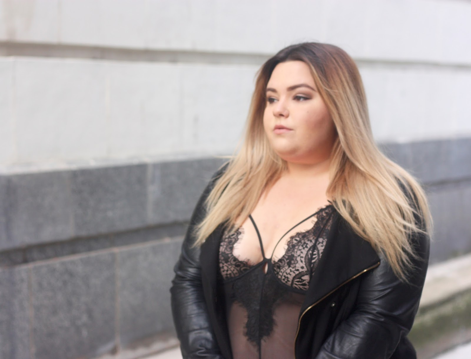 lingerie, street style, leather jacket, plus size fashion, natalie craig, natalie in the city, khloe kardashian, good american, fatshion, embrace your curves, curvy, what fat girls actually wear, chicago fashion blogger, lace bodysuit, midwest blogger, plus size lingerie