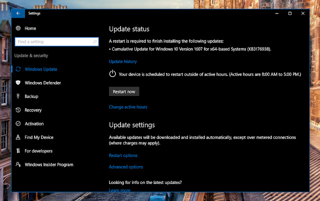 Cập nhật tích lũy KB3176938 cho Windows 10 version 1607 build 14393.105