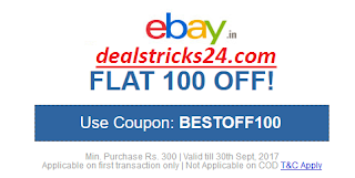 ebay Flat Rs.100 OFF on  Rs.300 (ebay Sep. 2017 100 OFF Coupon)