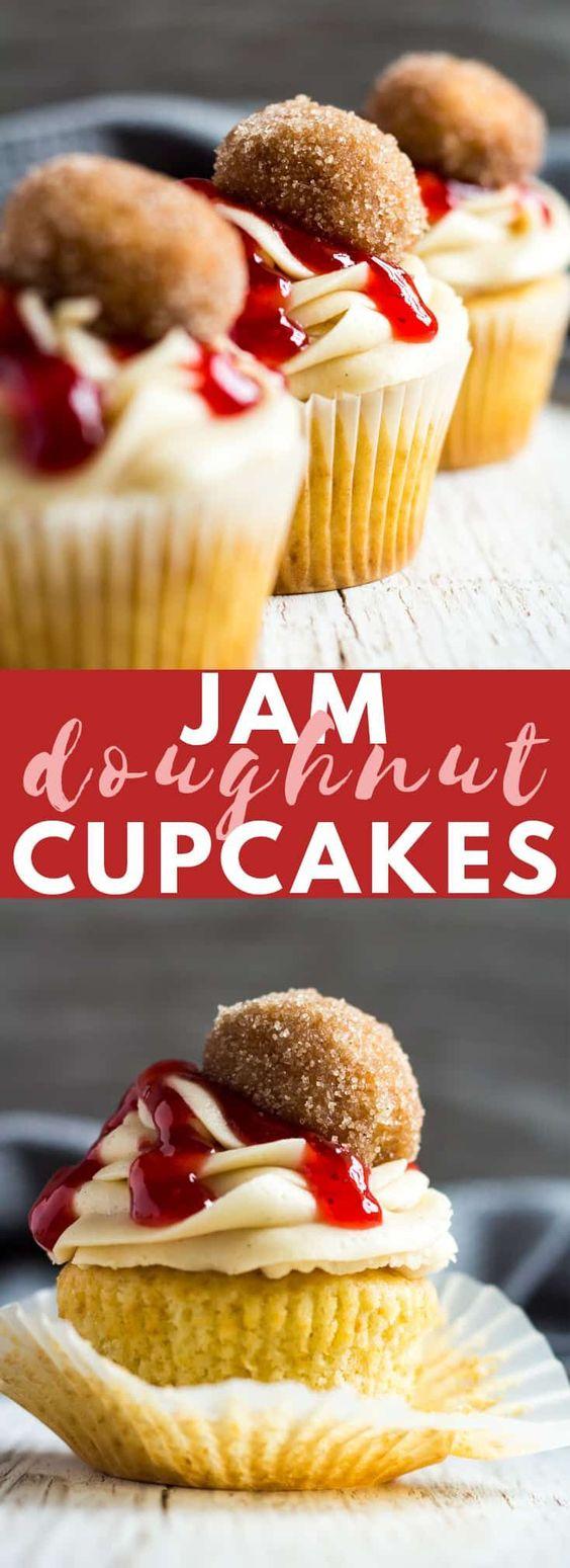 Jam Doughnut Cupcakes
