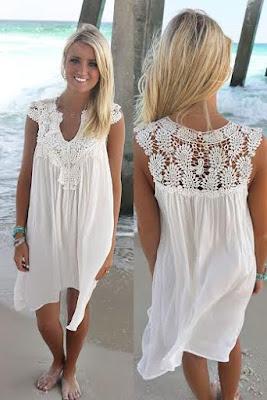 719346b2b1 Biała sukienka plażowa tunika plażowa cover up - royalline.pl ...