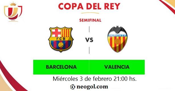 Alineación Barcelona-Valencia. Semifinales Copa del Rey (ida)