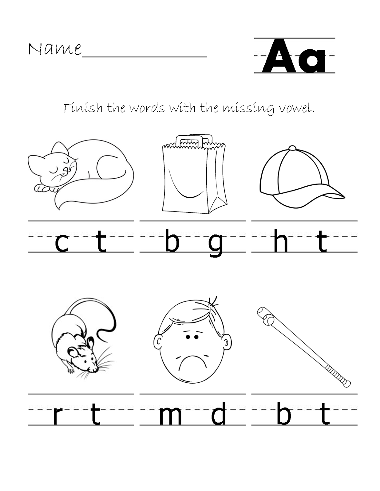 Printable Homeschool Fill In The Vowel