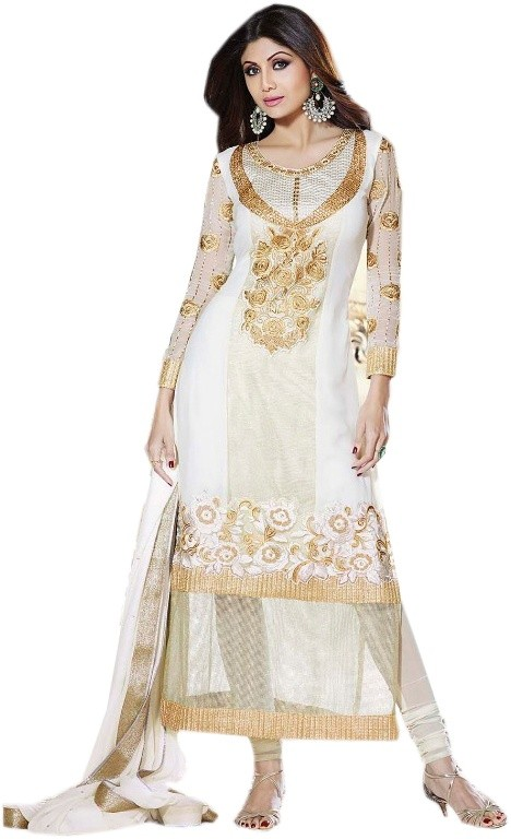 #White & Cream Georgette #SalwarKameez For #Navratri Moksha Fashions