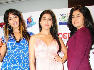 Heroines Poonam,Shreya,Sanjana at CCL Pressmeet