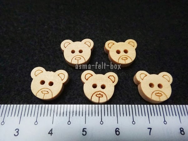 New Item: Wood Buttons Bear Face