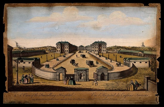 Scan of The Foundling Hospital, Holborn, London: a bird's-eye view of the courtyard. Coloured engraving by T. Bowles after L. P. Boitard, 1753. Image from Wikimedia Commons