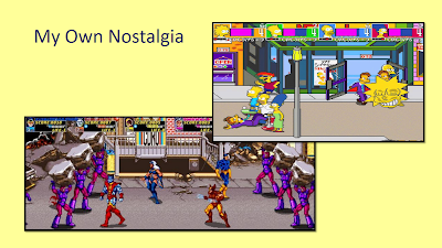 Title: My Own Nostalgia. Picture from The Simpsons Arcade Game showing Bart, Homer, and Marge standing near a downed, suited enemy. Lisa is in the upper right hand corner with an enlarged head to indicate she is taking damage from the two enemies next to her. The scene is on a street and includes a storefront and a lamppost.