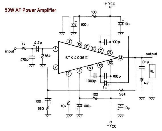 world technical  circuit of 50 watts of audio power amplifier ic for single stk4036 ii