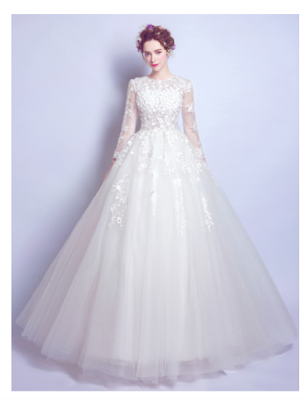 Duchesse-Linie U-Ausschnitt bodenlang Lange Ärmel Tülle Wedding Dress # AM218
