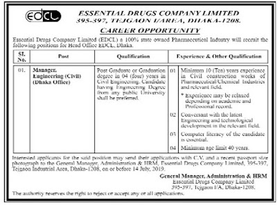 Essential Drugs Company Limited Job Circular 2019 Image