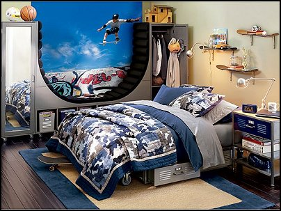 Skateboarding theme bedroom decor and skateboarding theme decorating ideas