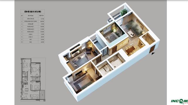 Thiết kế căn hộ loại B chung cư Northern Diamond