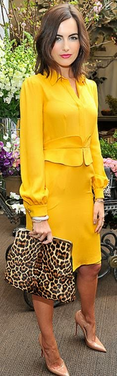 Yellow long sleeve top, and leopard handbag