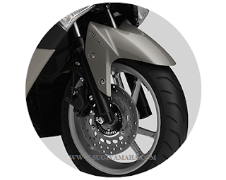 YAMAHA NMAX : ANTI LOCK BRAKE SYSTEM Sensor di kedua roda yang estafet real-time rpm roda  Seketika menghitung setiap penyesuaian Tekanan hidrolik  untuk MENCEGAH WHEEL LOCK.  Depan dan Belakang diameter 230mm rem disk