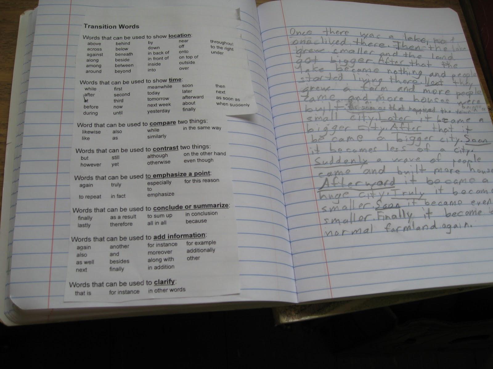 Mrs Gannon S Fantastic Fourth Grade Transition Words