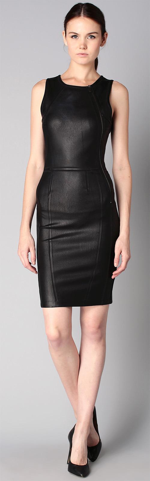 Robe courte noire en similicuir moulante Calvin Klein