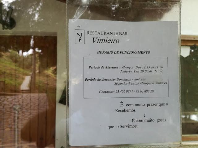 Horário Restaurante Vimieiro