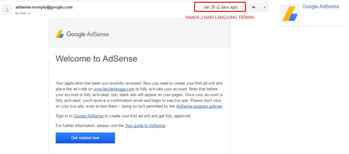 Tips Di terima Google AdSense