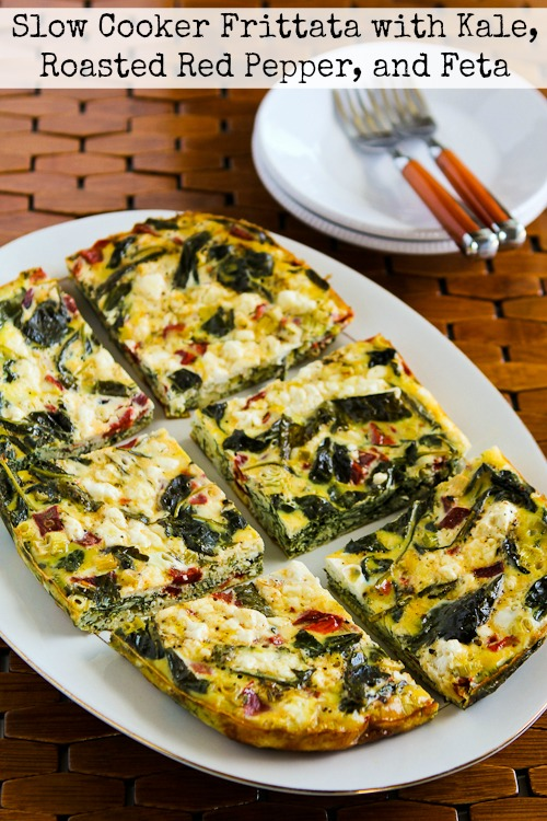 Slow Cooker Frittata with Kale, Roasted Red Pepper, and Feta found on KalynsKitchen.com