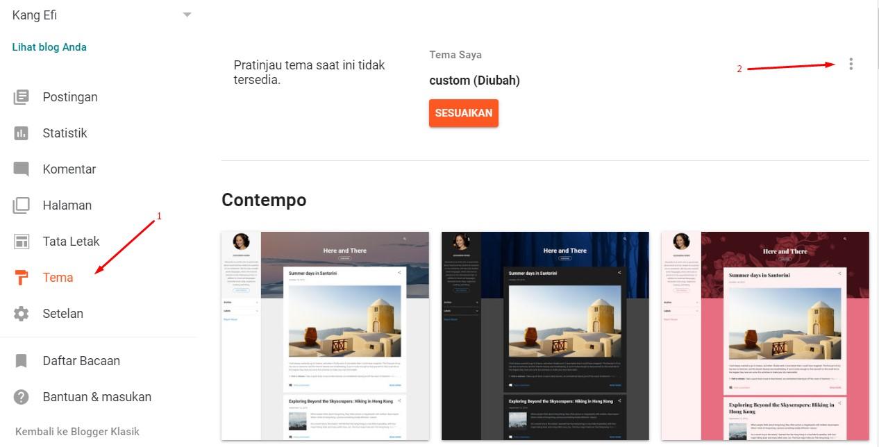 Menu edit HTML Blogger terbaru