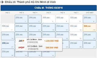 Giá vé máy bay Sài Gòn đi Vinh
