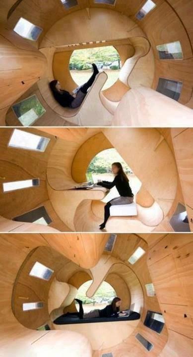 Interesante espacio similar a una cápsula.