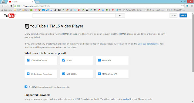 HTML5 compatibility check for YouTube