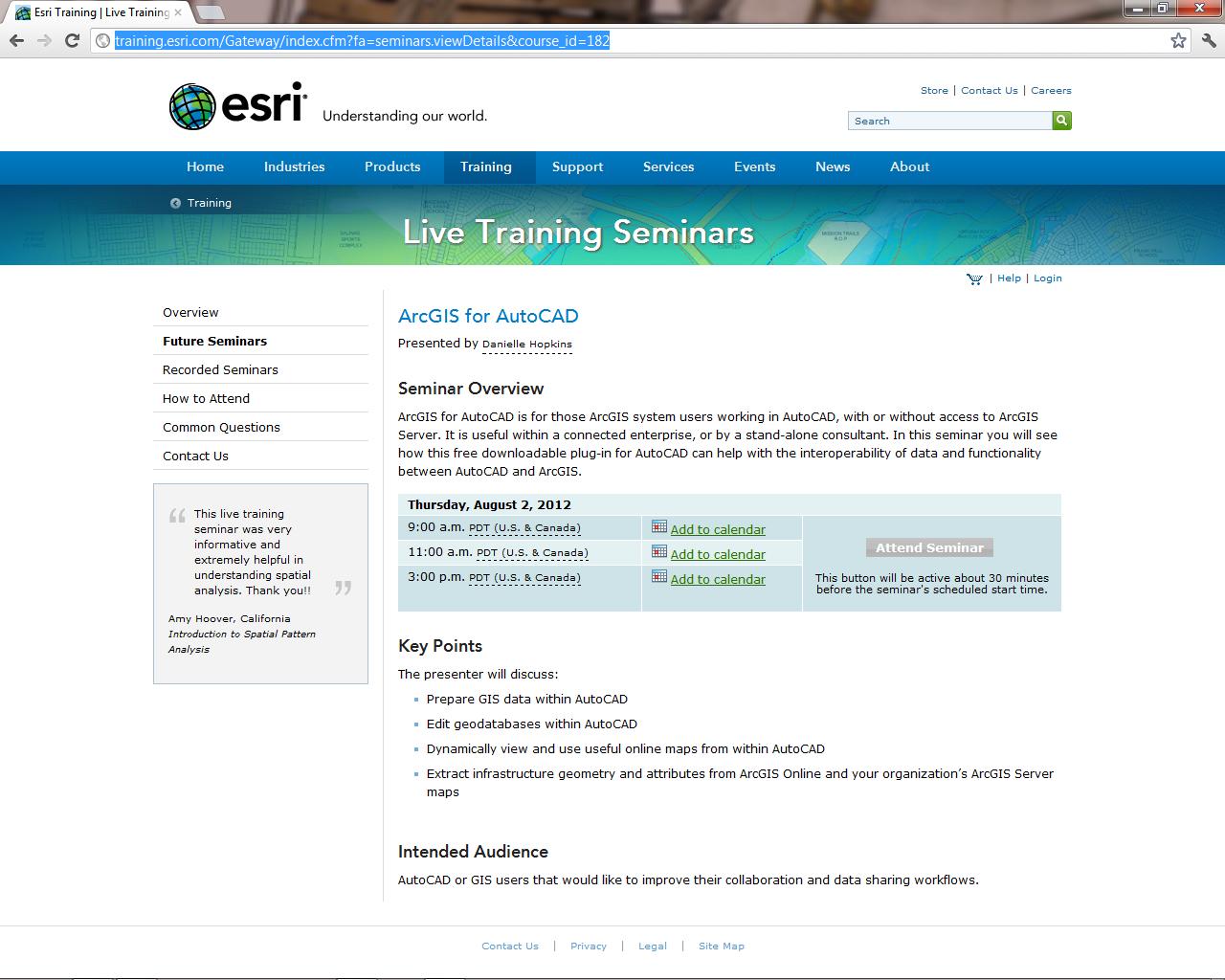 GIS CAD Interoperability: Free Esri Live Training Seminar