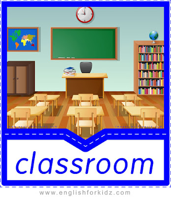 English flashcard, school vocabulary, classroom