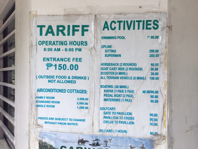 Garinfarm Entrance Fee, Rooms Rates and Other Fees
