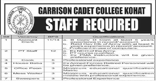 Jobs in Garrison Cadet College Kohat 2020 Latest Advertisement