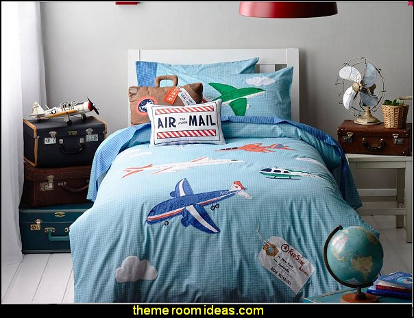 Plane on the Sky Print 4-Piece Cotton Kids Duvet Cover Sets