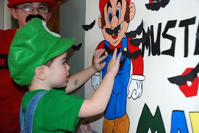 pin the mustache on super mario