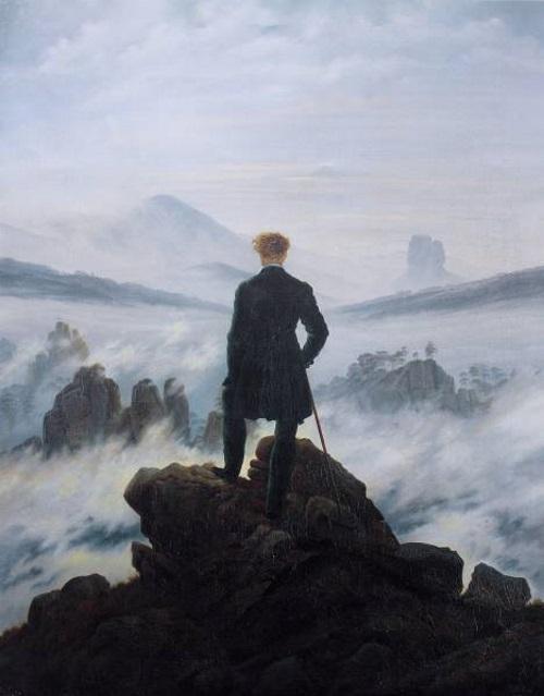 Caminhante Sobre o Mar de Névoa, pintura de Caspar David Friedrich. #PraCegoVer