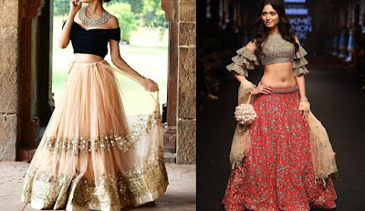 Contemporary blouses with cuts and patterns can enhance the look of any lehenga.