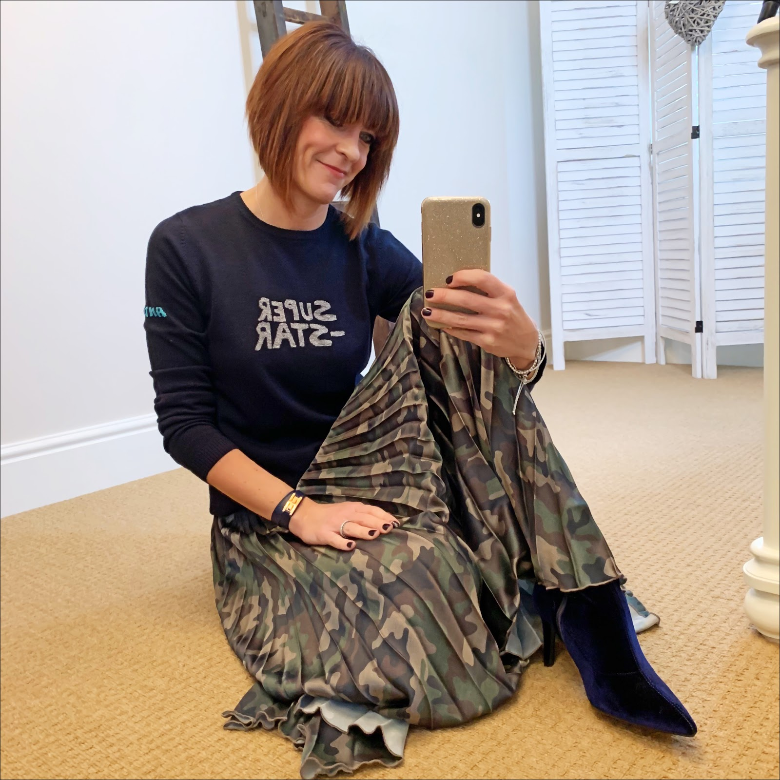 my midlife fashion, bella freud andy starman jumper, asos satin pleated camouflage maxi skirt, marks and spencer velvet stiletto heel ankle boots
