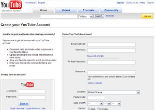 create  signup youtube account