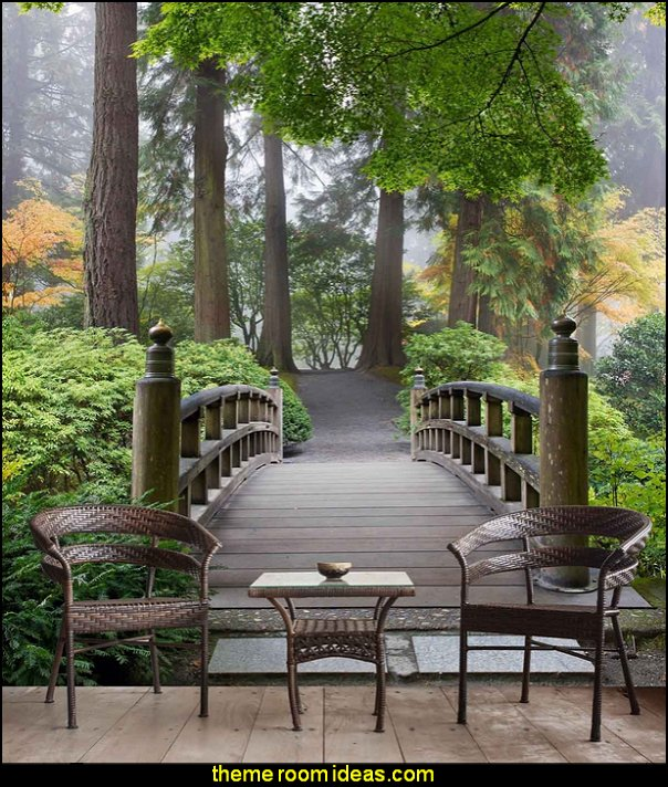 Wooden Bridge in a Japanese Garden  mural  oriental theme bedroom decorating ideas - asian themed bedroom decorating ideas - Asian Decor - Oriental Decor - Japanese Inspired Bedrooms - Chinese theme decorating ideas - China and Japan Asian Style - Asian dragon themed