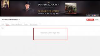 YouTube desapareció los videos oficiales del cantante Julión Álvarez