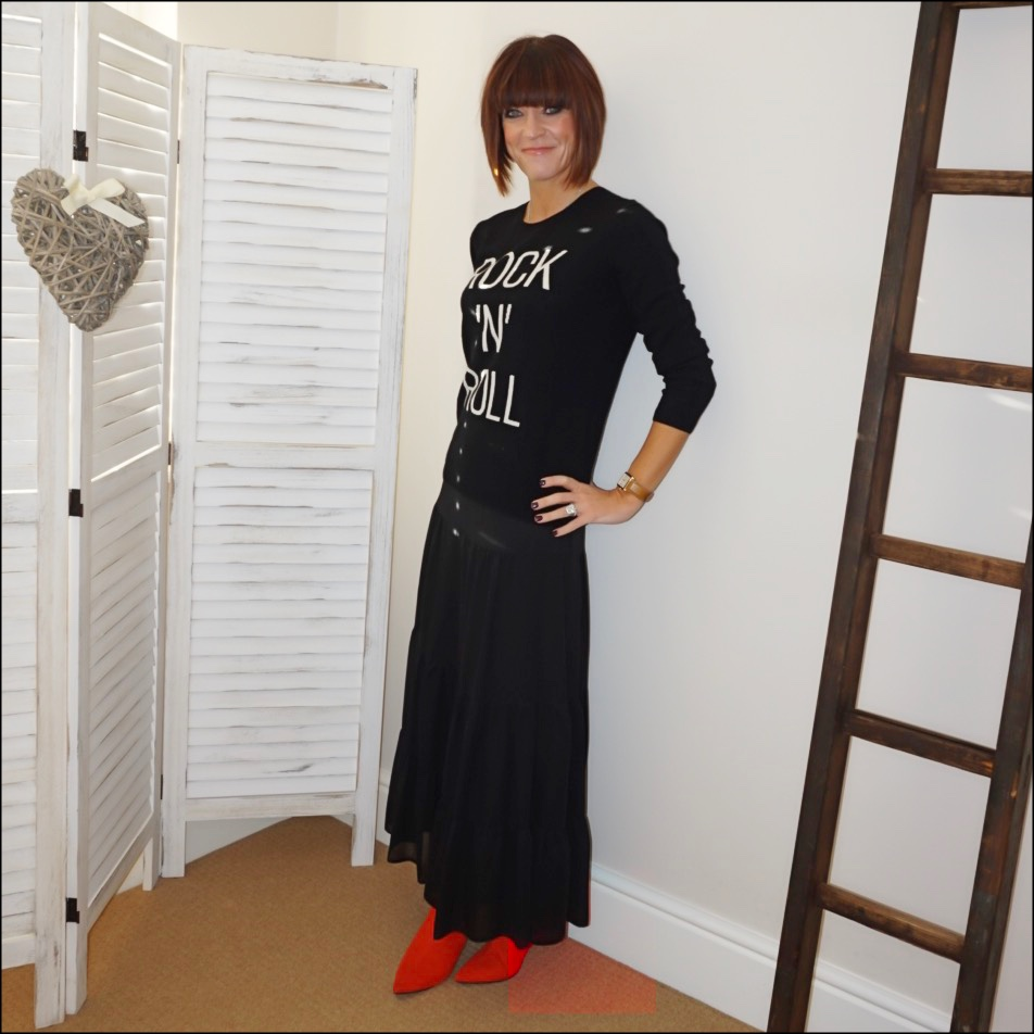 my midlife fashion, hush roxie cashmere jumper, marks and spencer tiered maxi skirt, marks and spencer red pixie boots