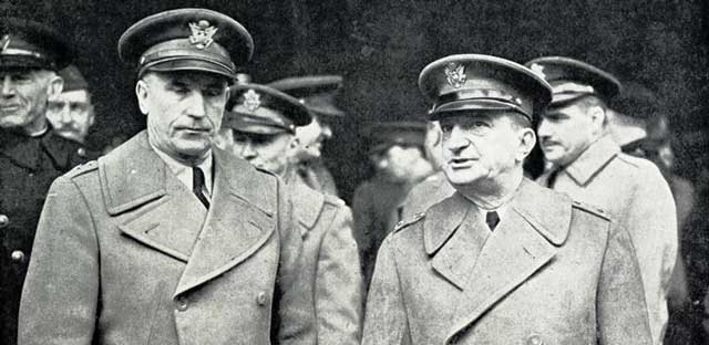 US Generals Chaney and Hartle in Belfast, Ireland, 26 January 1942 worldwartwo.filminspector.com