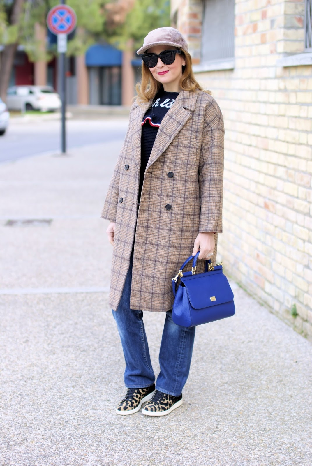 Metisu coffee check coat, Lazzari Ohlala maglione on Fashion and Cookies fashion blog, fashion blogger styl