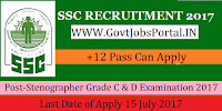 Staff Selection Commission Recruitment 2017-Stenographer Grade C & D Examination 2017