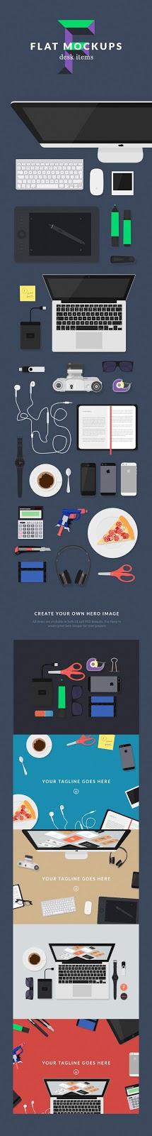 yaitu sebuah media visual atau preview dari sebuah konsep desain  Download Gratis Flat MockUps - Desk item
