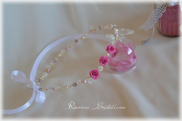 headband mariée fleurs perles et cristaux avec ruban